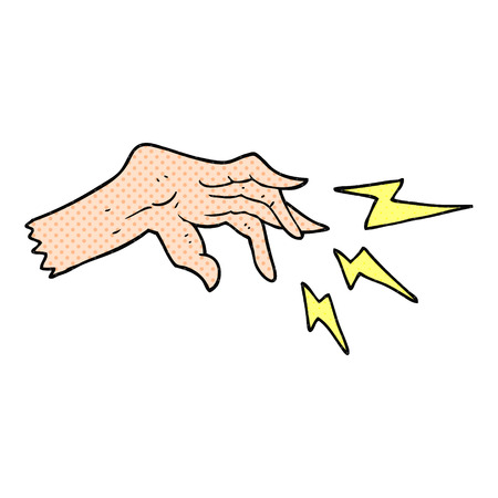 casting: freehand drawn cartoon hand casting spell