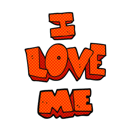 affirmation: i love me freehand drawn cartoon symbol
