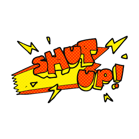 shut up: freehand drawn cartoon shut up! symbol