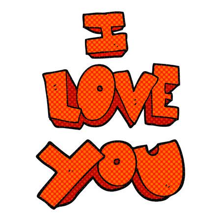 i love you symbol: I love you freehand drawn cartoon symbol