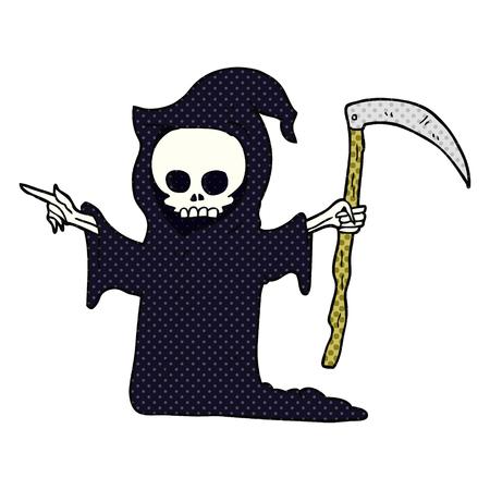 guadaña: dibujado a mano alzada de dibujos animados de la muerte con la guadaña