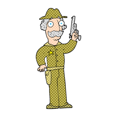 gunfighter: freehand drawn cartoon sheriff