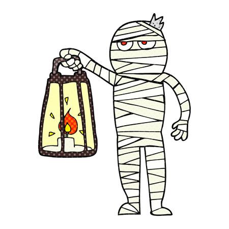 mummified: freehand drawn cartoon mummy Illustration