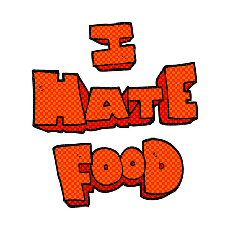 hate: freehand drawn cartoon i hate food symbol