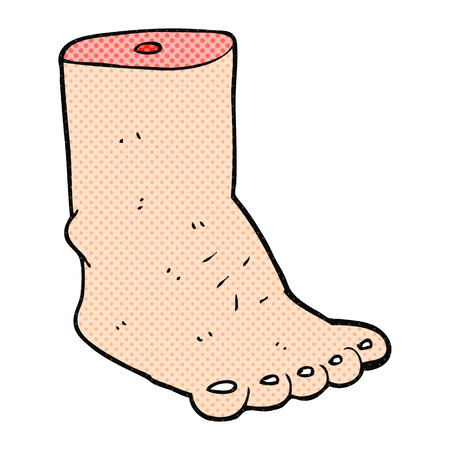 severed: freehand drawn cartoon foot Illustration