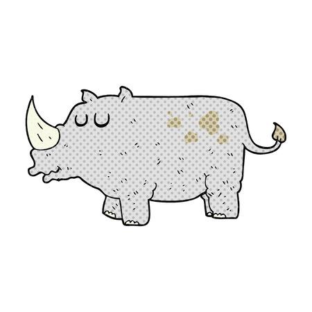rhino: freehand drawn cartoon rhino