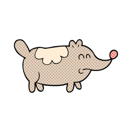 fat dog: freehand drawn cartoon small fat dog