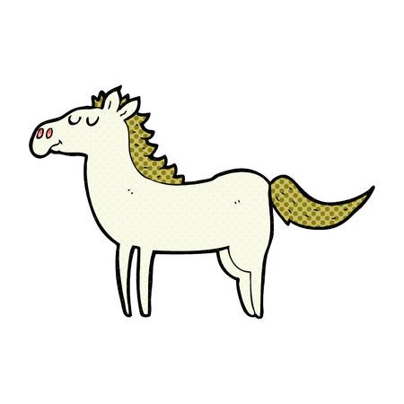 horse drawn: freehand drawn cartoon horse