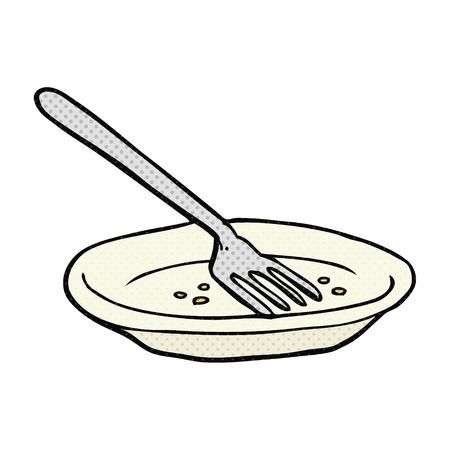 empty plate: freehand drawn cartoon empty plate Illustration