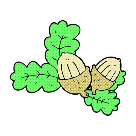 acorns: freehand drawn cartoon acorns and leaves Illustration