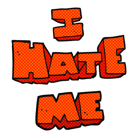 hate: I hate me freehand drawn cartoon symbol Illustration