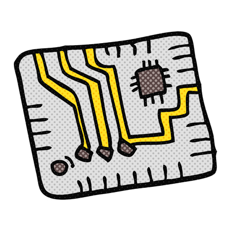 circuitboard: freehand drawn cartoon computer circuitboard