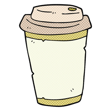 take out: freehand drawn cartoon take out coffee