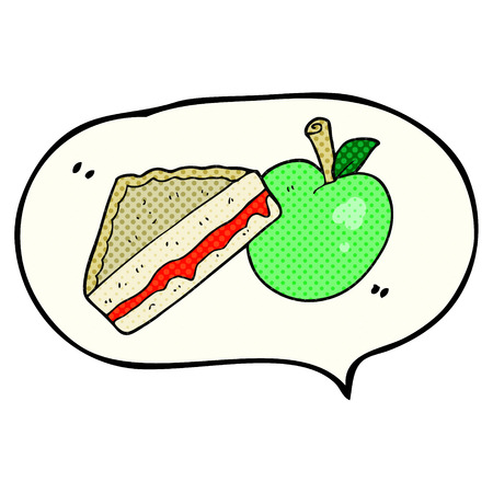 packed: freehand drawn comic book speech bubble cartoon packed lunch Illustration