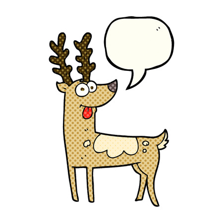 comic bubble: freehand drawn comic book speech bubble cartoon reindeer