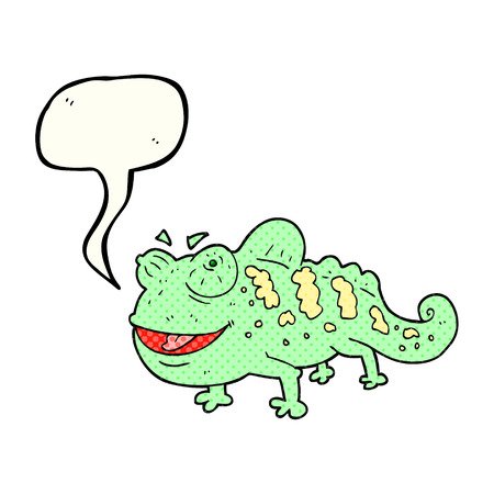 comic bubble: freehand drawn comic book speech bubble cartoon chameleon Illustration