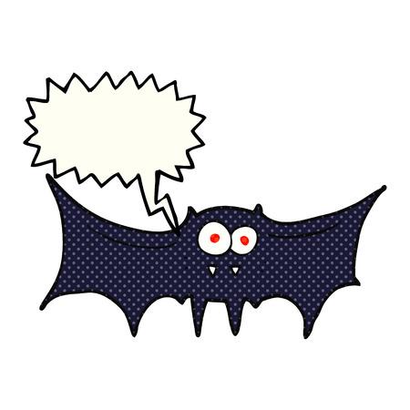 vampire bat: freehand drawn comic book speech bubble cartoon vampire bat