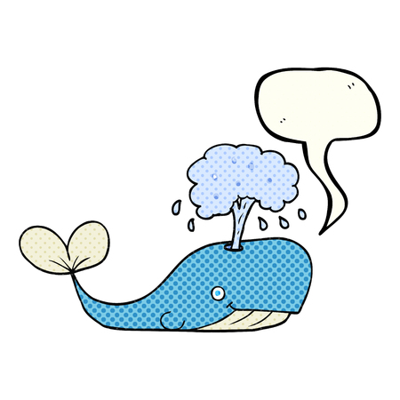 comic bubble: freehand drawn comic book speech bubble cartoon whale spouting water Illustration