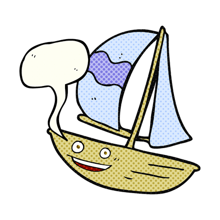 comic bubble: freehand drawn comic book speech bubble cartoon sail ship Illustration