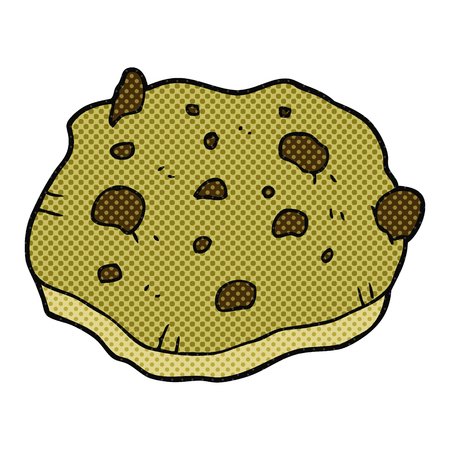 chocolate cookie: freehand drawn cartoon chocolate chip cookie Illustration