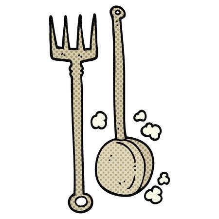 fireside: freehand drawn cartoon old fireside tools
