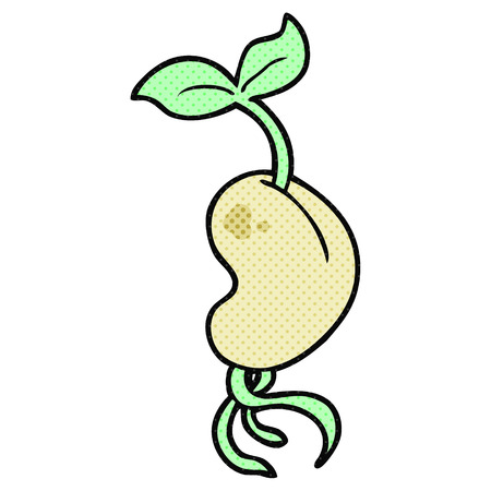 sprouting: freehand drawn cartoon sprouting seed Illustration