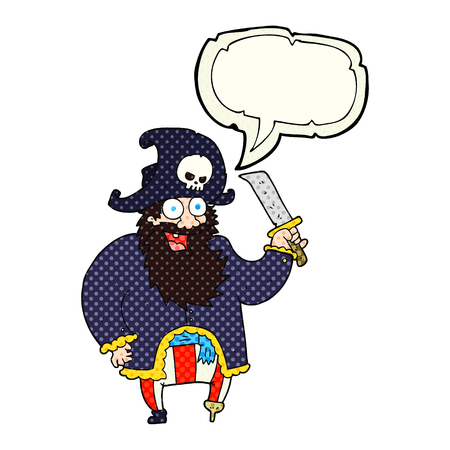 comic bubble: freehand drawn comic book speech bubble cartoon pirate captain Illustration