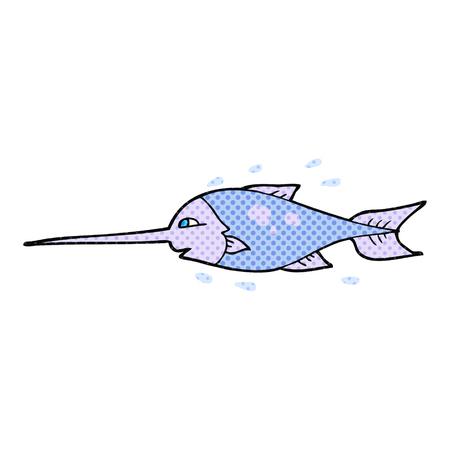 pez espada: dibujado a mano alzada el pez espada de dibujos animados
