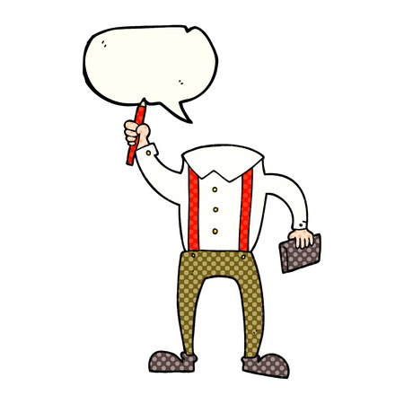 bubble pen: freehand drawn comic book speech bubble cartoon headless body with notepad and pen (add own photos)