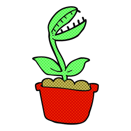 venus: freehand drawn cartoon venus fly trap