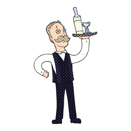 freehand: freehand drawn cartoon waiter Illustration