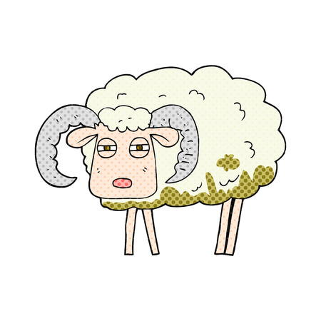 freehand drawn cartoon ram covered in mud