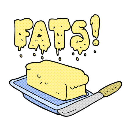 freehand: freehand drawn cartoon butter fats Illustration