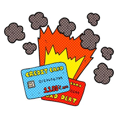 credit card debt: freehand drawn cartoon credit card debt Illustration