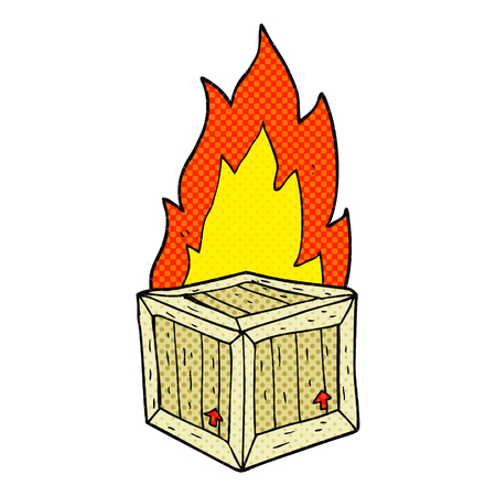 freehand drawn cartoon burning crate
