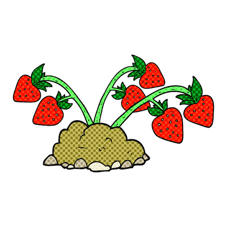 freehand: freehand drawn cartoon strawberries