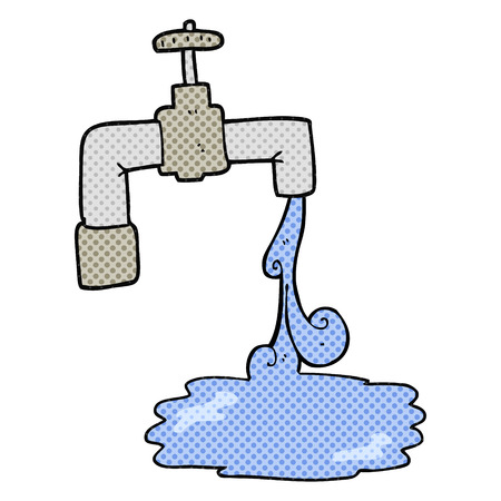 freehand: freehand drawn cartoon running faucet Illustration