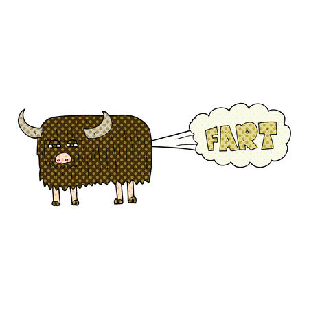 farting: freehand drawn cartoon hairy cow farting Illustration
