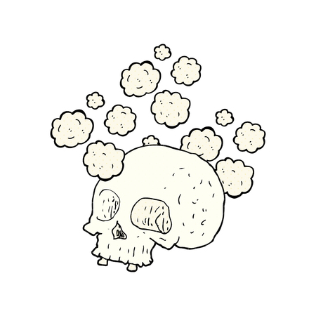freehand: freehand drawn cartoon old skull Illustration