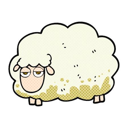 freehand drawn cartoon muddy winter sheep Illusztráció