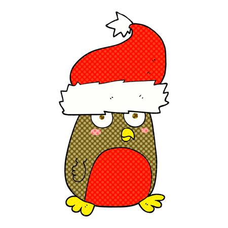 christmas robin: freehand drawn cartoon christmas robin wearing christmas hat Illustration
