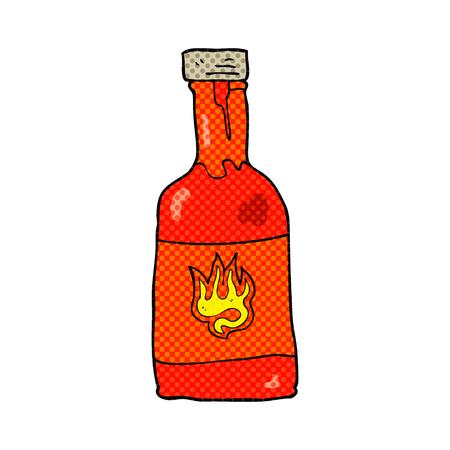 chili sauce: freehand drawn cartoon chili sauce bottle Illustration