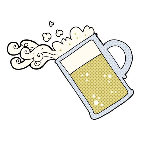 pouring beer: freehand drawn cartoon pouring beer