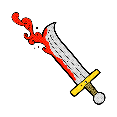 freehand drawn cartoon bloody sword Фото со стока - 53444476