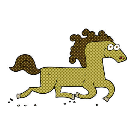 freehand: freehand drawn cartoon running horse