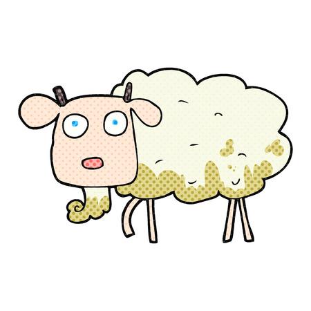 freehand drawn cartoon muddy goat