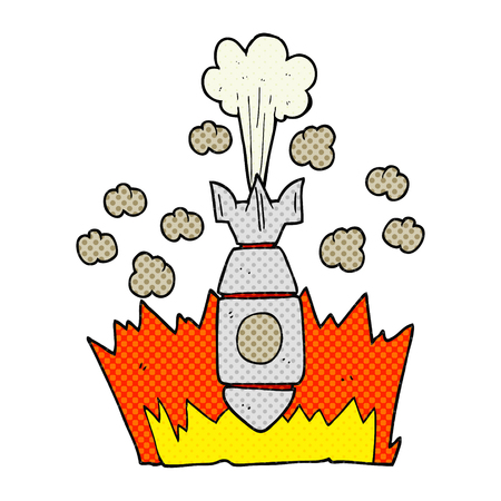 freehand: freehand drawn cartoon falling bomb Illustration