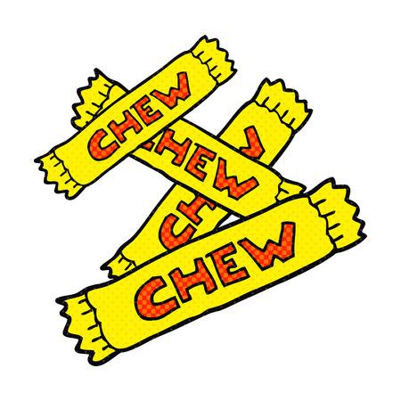 chew: freehand drawn cartoon chew candy