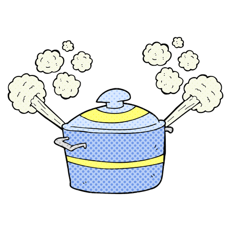 caricature dessinée à main levée à la vapeur pot de cuisson Vecteurs