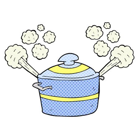uit de vrije hand getekende cartoon dampende kookpot Vector Illustratie